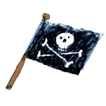 Piratenvlag uit De piraten van hiernaast door Mark Janssen
