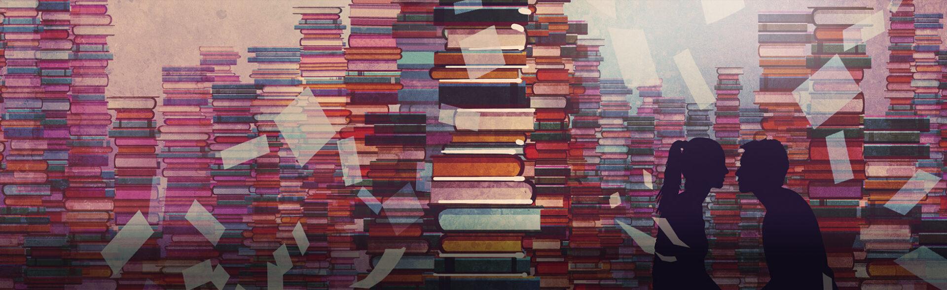 Meidenboeken - illustratie uit Library Kiss