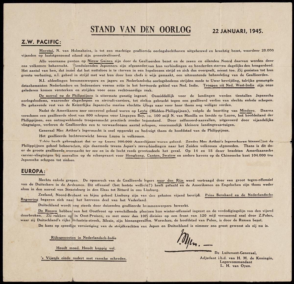 Pamflet 'Stand van oorlog' - Oorlog in inkt
