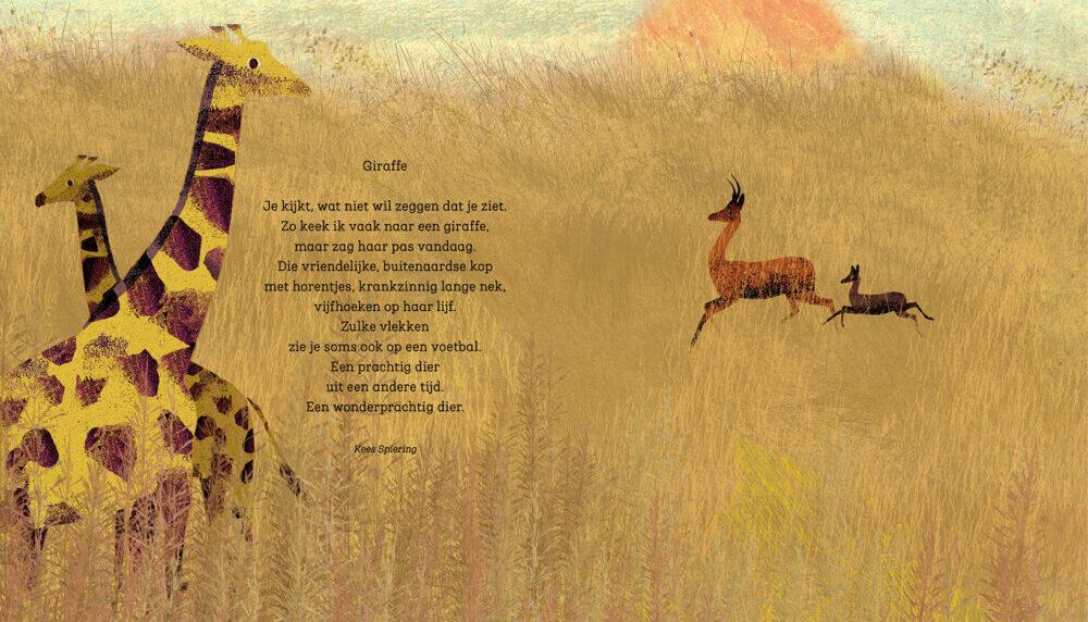 giraffe met gedicht